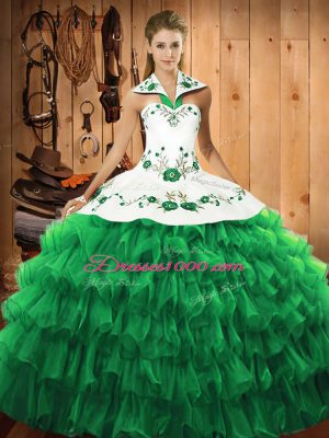 Discount Halter Top Long Sleeves Satin and Organza Quinceanera Dresses Embroidery and Ruffled Layers Lace Up