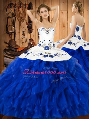 Latest Sleeveless Embroidery and Ruffles Lace Up Quinceanera Dresses