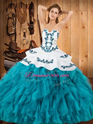Fancy Teal Ball Gowns Embroidery and Ruffles Quinceanera Gown Lace Up Satin and Organza Sleeveless Floor Length