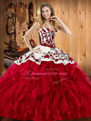 Edgy Sleeveless Satin and Organza Floor Length Lace Up 15 Quinceanera Dress in Wine Red with Embroidery and Ruffles