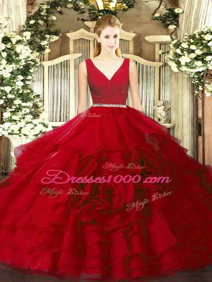 Floor Length Zipper Quinceanera Dress Wine Red for Military Ball and Sweet 16 and Quinceanera with Beading