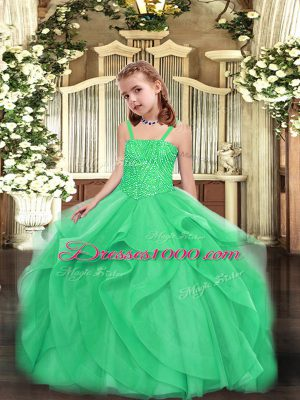 Custom Design Turquoise Straps Lace Up Beading and Ruffles Little Girls Pageant Gowns Sleeveless