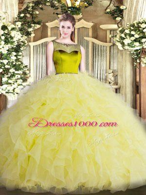 Sumptuous Floor Length Yellow Green Quinceanera Dress Scoop Sleeveless Zipper