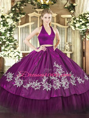 Best Selling Fuchsia Sleeveless Taffeta Zipper Sweet 16 Dress for Military Ball and Sweet 16 and Quinceanera