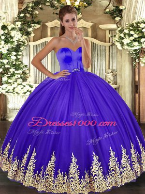 Fancy Appliques Vestidos de Quinceanera Lavender Lace Up Sleeveless Floor Length