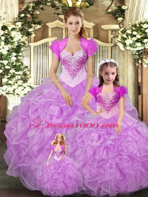 Low Price Floor Length Lace Up Sweet 16 Quinceanera Dress Baby Pink for Military Ball and Sweet 16 and Quinceanera with Beading and Ruffles