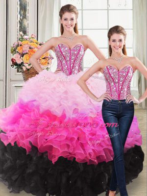 Elegant Multi-color Ball Gowns Organza Sweetheart Sleeveless Beading and Ruffles Floor Length Lace Up Sweet 16 Dresses