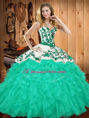 Sleeveless Satin and Organza Floor Length Lace Up Quince Ball Gowns in Turquoise with Embroidery and Ruffles