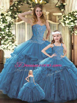 Teal Sleeveless Beading and Ruffles Floor Length Quinceanera Dress