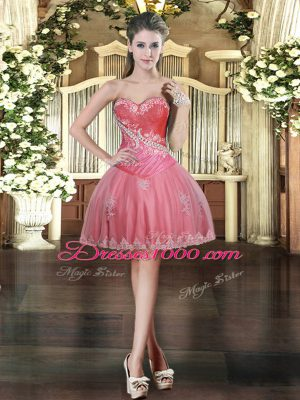 Modern Coral Red Ball Gowns Tulle Sweetheart Sleeveless Beading and Appliques Mini Length Lace Up Prom Dresses