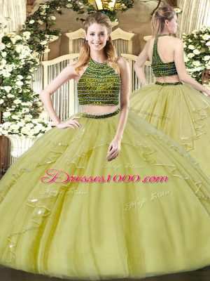 Customized Organza Halter Top Sleeveless Zipper Beading and Ruffles Vestidos de Quinceanera in Olive Green