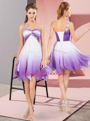 Shining One Shoulder Sleeveless Fading Color Evening Dress Beading Lace Up