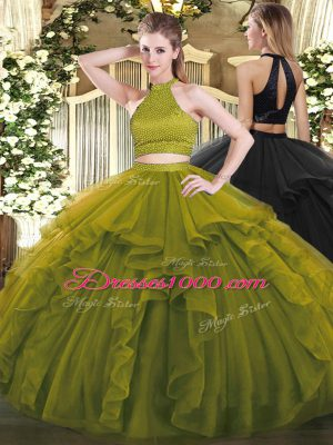 Sleeveless Beading and Ruffles Backless Quinceanera Dress