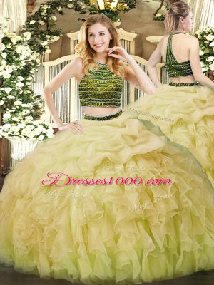 Custom Designed Organza Sleeveless Floor Length 15th Birthday Dress and Beading and Ruffles