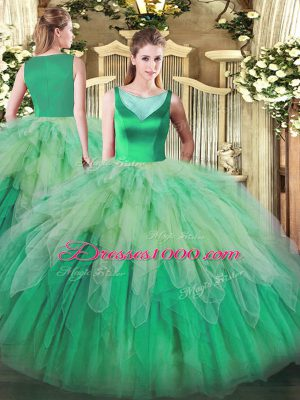 Traditional Multi-color Ball Gowns Scoop Sleeveless Organza Floor Length Backless Beading and Ruffles Quince Ball Gowns