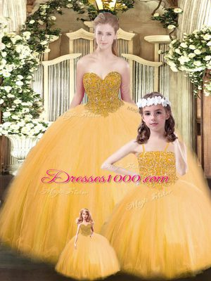 Gold Tulle Lace Up Sweetheart Sleeveless Floor Length Sweet 16 Quinceanera Dress Beading