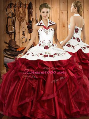 Perfect Wine Red Halter Top Neckline Embroidery and Ruffles 15th Birthday Dress Sleeveless Lace Up