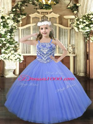 Blue Ball Gowns Beading Kids Formal Wear Lace Up Tulle Sleeveless Floor Length