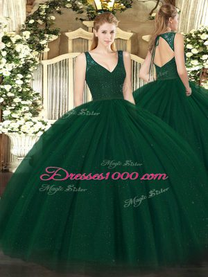 Discount Dark Green Ball Gowns Beading 15th Birthday Dress Zipper Tulle and Sequined Sleeveless Floor Length