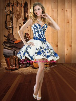 Most Popular Mini Length White Prom Dress Satin Sleeveless Embroidery