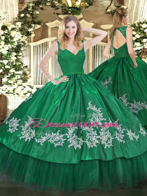 Noble Dark Green Ball Gowns Taffeta V-neck Sleeveless Beading and Appliques Floor Length Zipper Sweet 16 Dresses