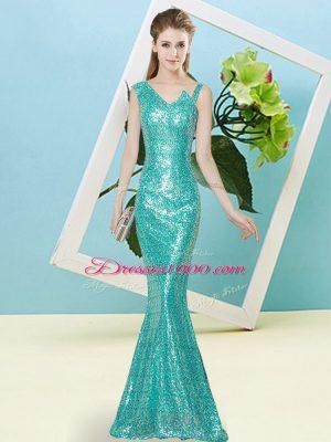 Sexy Teal Asymmetric Neckline Sequins Prom Dress Sleeveless Zipper