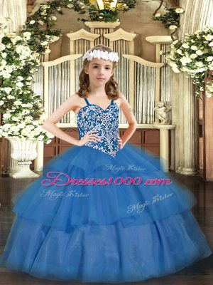 Baby Blue Pageant Dress for Womens Party and Quinceanera with Beading and Ruffled Layers Straps Sleeveless Lace Up