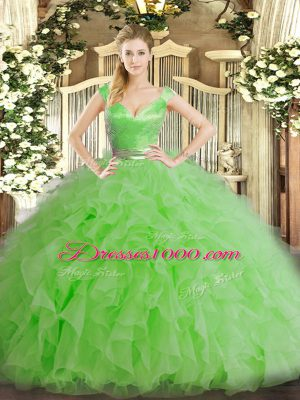Dramatic Floor Length Zipper Quinceanera Dress Green for Military Ball and Sweet 16 and Quinceanera with Ruffles