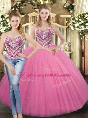 Superior Sleeveless Beading Lace Up Sweet 16 Dress