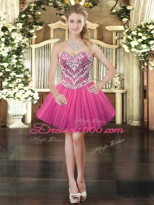 Hot Pink Tulle Lace Up Sweetheart Sleeveless Mini Length Prom Dresses Beading