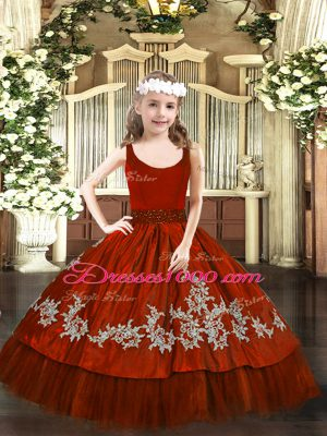 Taffeta Sleeveless Floor Length Pageant Gowns For Girls and Beading and Appliques