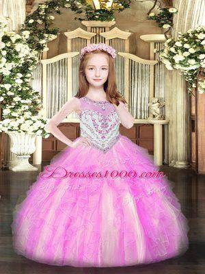 Floor Length Ball Gowns Sleeveless Lilac Custom Made Pageant Dress Zipper