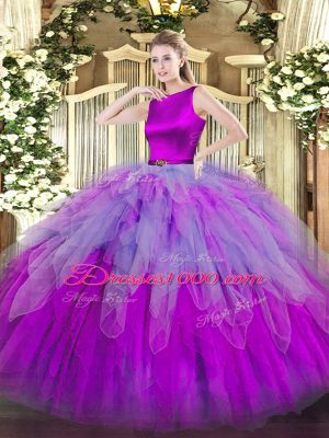 Fashionable Multi-color Ball Gowns Organza Scoop Sleeveless Ruffles Floor Length Clasp Handle Quinceanera Gowns