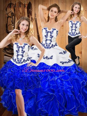 Blue And White Lace Up Sweet 16 Dresses Embroidery and Ruffles Sleeveless Floor Length