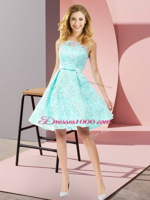 Exceptional Sleeveless Knee Length Bowknot Zipper Wedding Guest Dresses with Apple Green