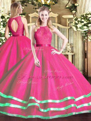 Sweet Hot Pink Tulle Zipper Quinceanera Dress Sleeveless Floor Length Lace
