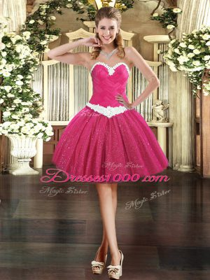 Sweetheart Sleeveless Womens Party Dresses Mini Length Appliques Fuchsia Tulle