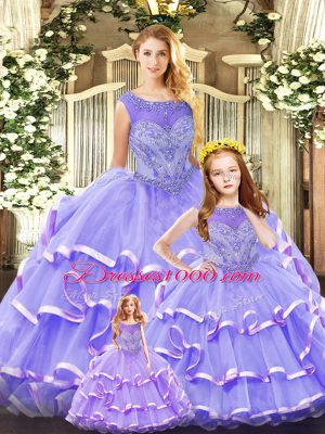 Eye-catching Lavender Lace Up Quinceanera Gown Beading and Ruffled Layers Sleeveless Floor Length