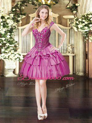 Fuchsia Lace Up V-neck Beading Womens Party Dresses Organza Sleeveless