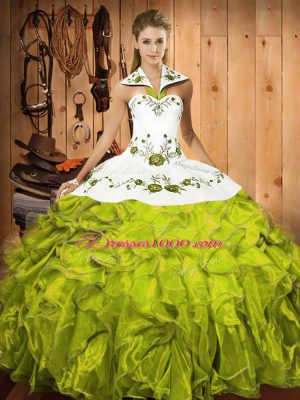Top Selling Olive Green Halter Top Lace Up Embroidery and Ruffles Vestidos de Quinceanera Sleeveless
