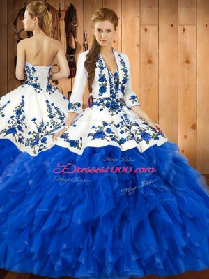 Beautiful Sleeveless Floor Length Embroidery and Ruffles Lace Up Sweet 16 Dresses with Blue