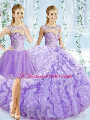 Organza Sweetheart Sleeveless Brush Train Lace Up Beading and Ruching and Pick Ups Sweet 16 Dress in Lavender