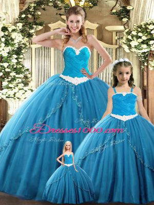 Sleeveless Floor Length Ruching Lace Up Quinceanera Dress with Teal