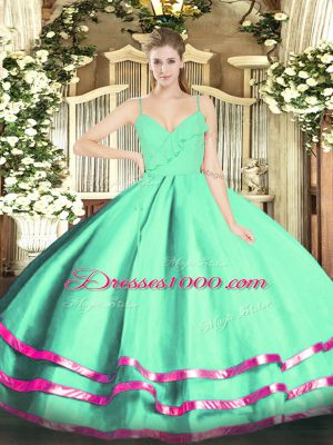Affordable Apple Green Spaghetti Straps Neckline Ruffled Layers Quinceanera Dresses Sleeveless Zipper