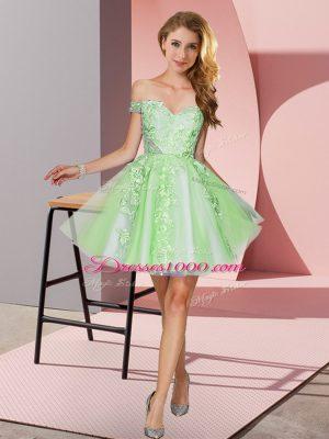 Pretty Apple Green Sleeveless Appliques Mini Length Bridesmaid Dresses
