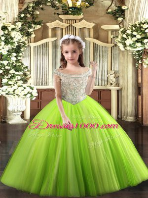 Elegant Yellow Green Ball Gowns Tulle Off The Shoulder Sleeveless Beading Floor Length Lace Up Girls Pageant Dresses