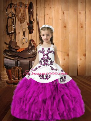 Sweet Fuchsia Sleeveless Organza Lace Up Custom Made for Sweet 16 and Quinceanera and Wedding Party