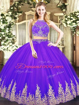 Traditional Purple Scoop Neckline Beading and Appliques Sweet 16 Dresses Sleeveless Zipper