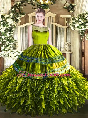 Floor Length Olive Green Ball Gown Prom Dress Organza and Taffeta Sleeveless Beading and Ruffles