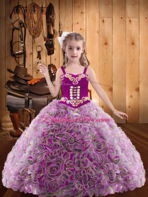 Nice Sleeveless Embroidery and Ruffles Lace Up Little Girl Pageant Gowns